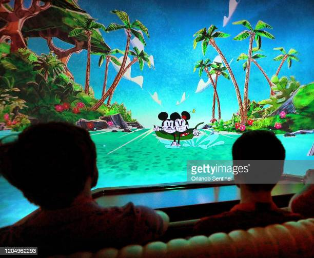 Guests get a firstlook at Mickey Minnie's Runaway Railway at Disney's Hollywood Studios Tuesday March 3 2020 The ride located inside the park's...