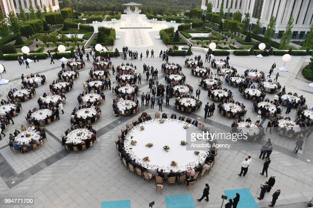 Guests have a dinner during his inauguration ceremony at Presidential Complex in Ankara Turkey on July 9 2018