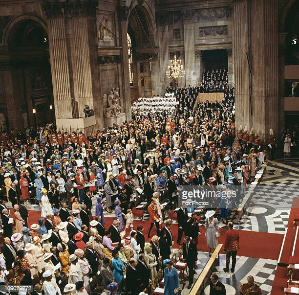 Guests in St Paul's Cathedral for the wedding of Charles Prince of Wales and Lady Diana Spencer London 29th July 1981