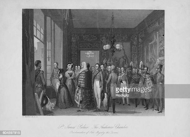 Guests in the Audience Chamber at St James's Palace London to hear the proclamation of the accession of Queen Victoria to the British throne 21st...