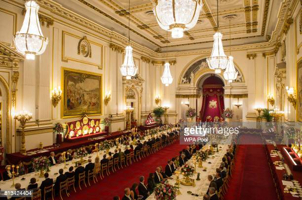 Guests in the ballroom as Britain's Queen Elizabeth II and King Felipe VI of Spain attend the State Banquet at Buckingham Palace on July 12 2017 in...