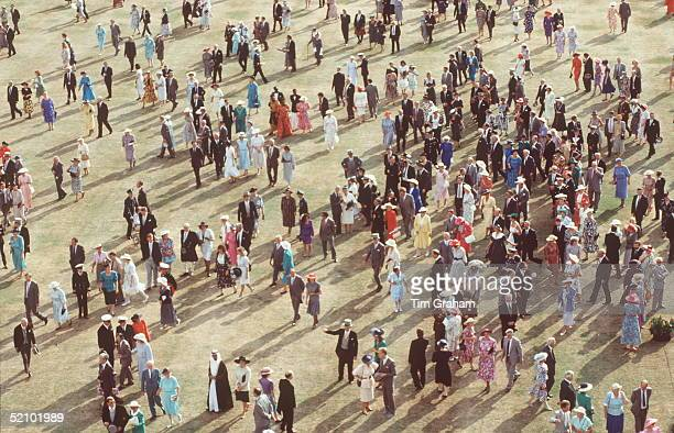 Guests In The Gardens At Buckingham Palace During One Of The Queen's Garden Partiescirca 1990s