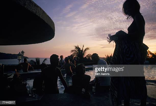 Guests in the pool at the Villa Vera Racquet Club Acapulco Mexico January 1968