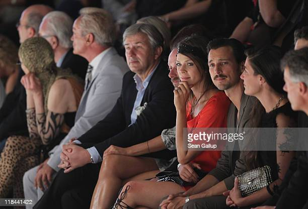 Guests including actress Jessica Schwarz actor Florian David Fitz Berlin Mayor Klaus Wowereit and actor Udo Kier attend the Hugo Show during...