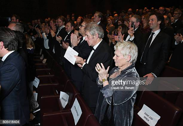 Guests including David Mills Dame Judi Dench and Ned Rocknroll stand to applause as Kate Winslet honours Alan Rickman at The London Critics' Circle...