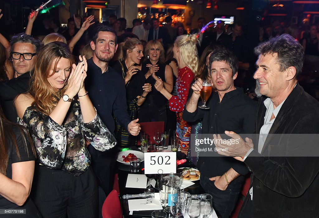 Guests including George Waud, Amy Gadney, Laura Bailey, Chrissie Hynde, Poppy Delevingne, Noel Gallagher and Tim Bevan attend 'Hoping's Greatest Hits', the 10th anniversary of The Hoping Foundation's fundraising event for Palestinian refugee children hosted by Bella Freud and Karma Nabulsi, at Ronnie Scott's on June 16, 2016 in London, England.