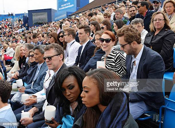 Guests including Ophelia Lovibond Gemma Chan Tom Hughes Daisy Lewis Anthony Mellor Pierre Denis Laura Mvula and Dionne Douglas watch the match at The...