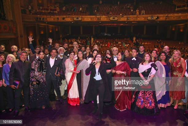 Guests including Rani Mukherjee Malaika Aror and Freida Pinto pose for a photo as confetti falls at the conclusion of the Westpac IFFM Awards Night...