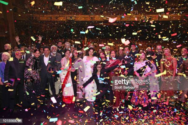 Guests including Rani Mukherjee Malaika Aror Manoj Bajpai and Freida Pinto pose for a photo as confetti falls at the conclusion of the Westpac 2018...