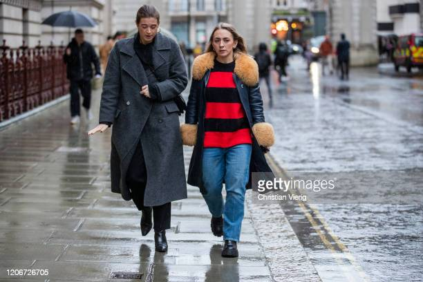 Guests is seen outside Roksanda during London Fashion Week February 2020 on February 16 2020 in London England