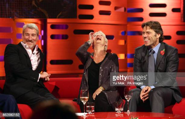 Guests Jeremy Paxman Dame Judi Dench and John Bishop during filming of The Graham Norton Show at The London Studios in south London