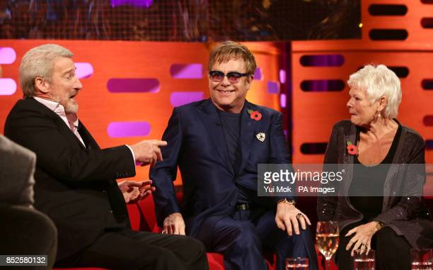 Guests Jeremy Paxman Sir Elton John and Dame Judi Dench during filming of The Graham Norton Show at The London Studios in south London