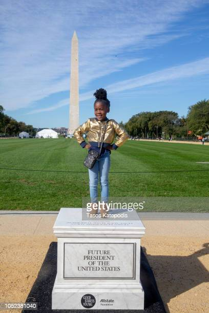Guests join Allstate Foundation Good Starts Young on pedestals that line the National Mall encouraging youth to develop critical social and emotional...