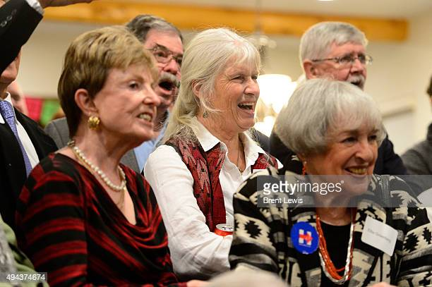 Guests laugh at jokes during former Los Angeles Mayor Antonio Villaraigosa's speech October 26 2015 at Ken Salazar's home Former Secretary of the...