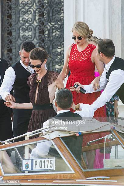 Guests leave the Aman Grand Canal Hotel to reach the church of the wedding of Bastian Schweinsteiger and Ana Ivanovic on July 13 2016 in Venice Italy