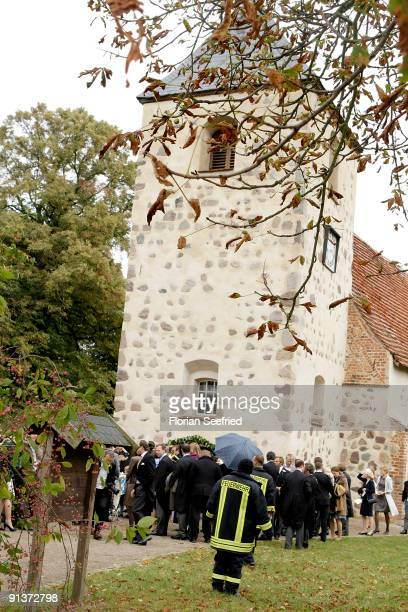 Guests leave the church wedding of Barbara Schoeneberger and Maximilian von Schierstaedt at the church of Rambow on October 3 2009 in Rambow Germany