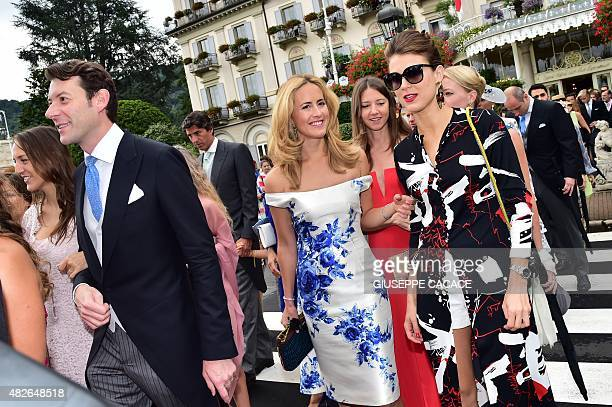 Guests leave the Hotel Des Iles Borromees for the religious wedding ceremony of Pierre Casiraghi, Prince Albert II of Monaco's nephew, with Beatrice...