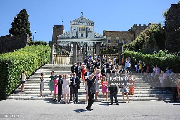 Guests leave the Princess Carolina Church Wedding With Mr Albert Brenninkmeijer at Basilica di San Miniato al Monte on June 16, 2012 in Florence,...