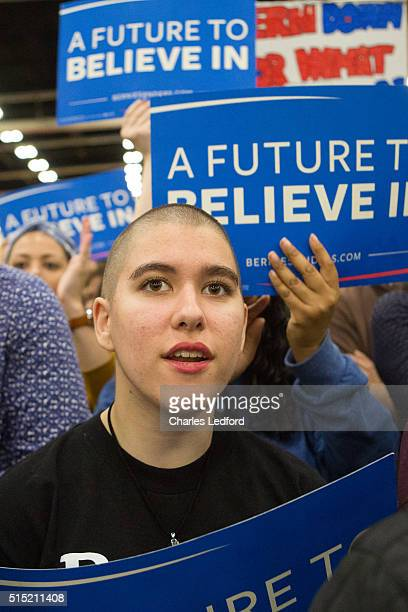 Guests listen as Democratic presidential candidate US Sen Bernie Sanders speaks in the Activities and Recreation Center on the campus of the...