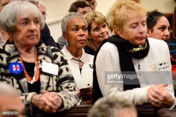 Guests listen during former Los Angeles Mayor Antonio Villaraigosa's speech October 26 2015 at Ken Salazar's home Former Secretary of the Interior...