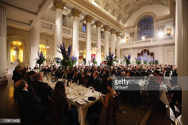 Guests listen to speeches at the 'Lord Mayor's Dinner to the Bankers and Merchants of the City of London' at the Mansion House on June 19 2013 in...
