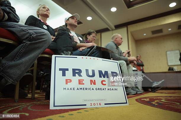 Guests listen while Ivanka Trump the daughter of Republican presidential candidate Donald Trump speaks while making a campaign stop for her father on...