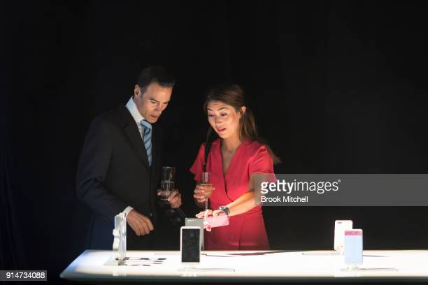 Guests look at displays during The OPPO launch at Carriageworks on February 1 2018 in Sydney Australia