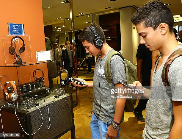 Guests look at headphones by Master Dynamic during 'A Good Time At Goodman's' held at Goodman's Men's Store on September 19 2015 in New York City