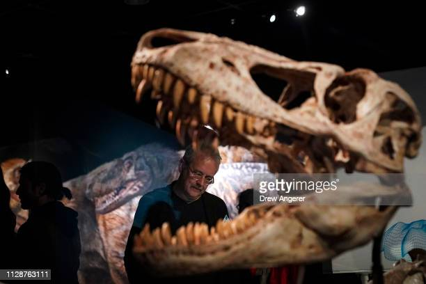 Guests make their way through a new exhibit called 'T Rex The Ultimate Predator' during a press preview at the American Museum of Natural History...