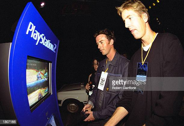 Guests Nick Green and James Tompkins trial the new Sony Playstation 2 game console at the Australian launch event November 29, 2000 at the Docklands,...