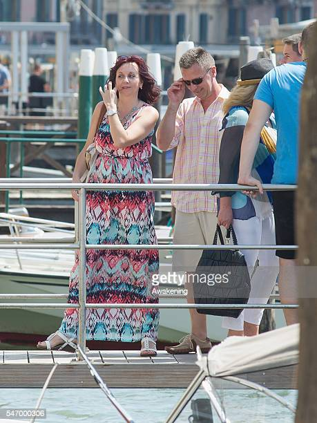 Guests of the Bastian Schweinsteiger and Ana Ivanovic wedding arrive at the Aman Grand Canal hotel on July 13 2016 in Venice Italy