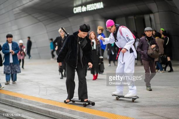Guests on skateboards seen at the Hera Seoul Fashion Week 2019 F/W at Dongdaemun Design Plaza at Dongdaemun Design Plaza on March 23 2019 in Seoul...