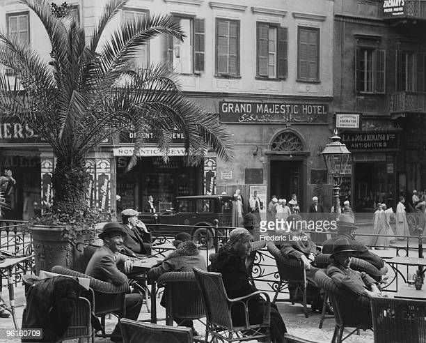 Guests on the terrace of Shepheard's Hotel Cairo circa 1935