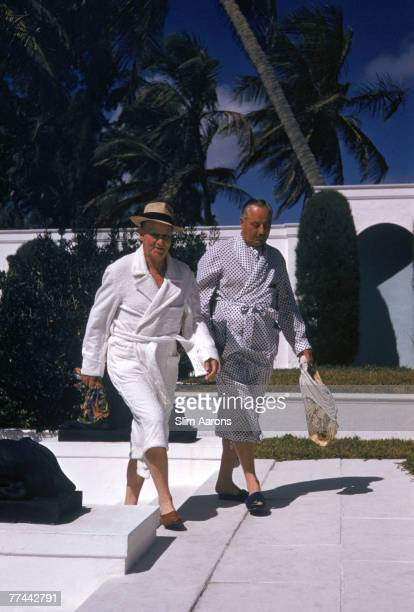 Guests on their way to the pool at the home of CZ Guest Villa Artemis in Palm Beach Florida 1955