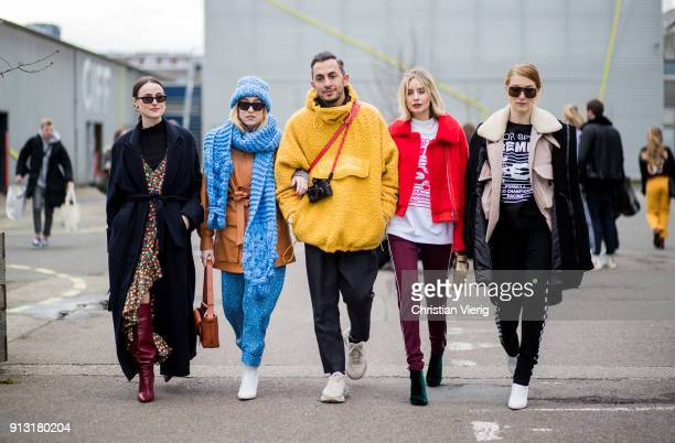 Guests outside Designers Remix during the Copenhagen Fashion Week Autumn/Winter 18 on February 1 2018 in Copenhagen Denmark