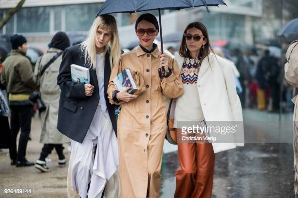 Guests outside Loewe on March 2 2018 in Paris France