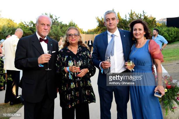 Guests Paolo Rozera and his wife attend the Unicef Summer Gala Presented by Luisaviaroma cocktail party at Villa Violina on August 10 2018 in Porto...