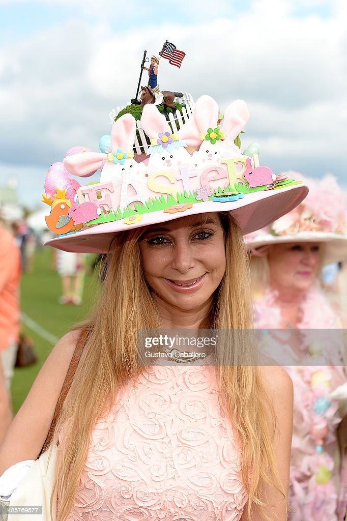 Guests participate in annual Best Easter Hat competition at the USPA Maserati U.S. Open Polo Championship at International Polo Club Palm Beach on April 20, 2014 in Wellington, Florida.
