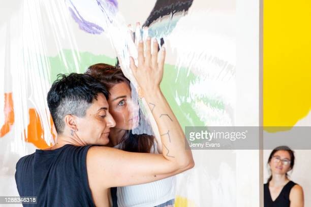 Guests participate in performance artwork 'A Proxy for a Thousand Eyes' by Cherine Fahd at Sydney Opera House on November 29, 2020 in Sydney,...