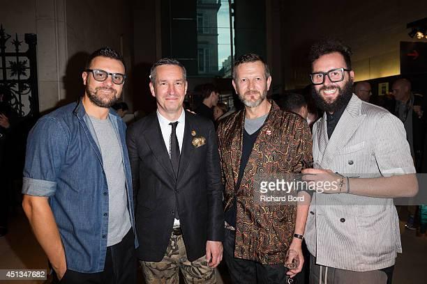 Guests Patrick Vangheluwe and Stylist Dries Van Noten attend the Dries Van Noten Exhibition Party as part of the Paris Fashion Week Menswear...