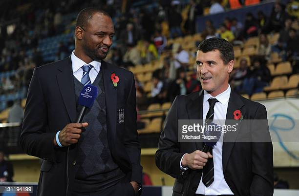 ITV guests Patrick Viera and Roy Keane give their views before the UEFA Champions League Group A match between Villareal CF and Manchester City at El...