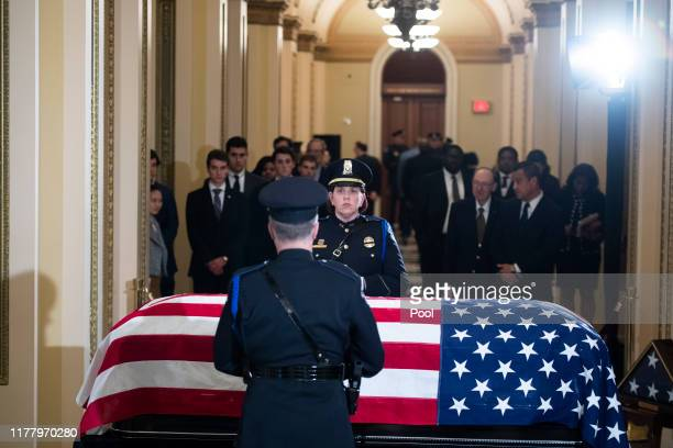 Guests pay respects to the late Rep Elijah Cummings as his remains lie in state outside the House Chamber of the US Capitol October 24 2019 in...
