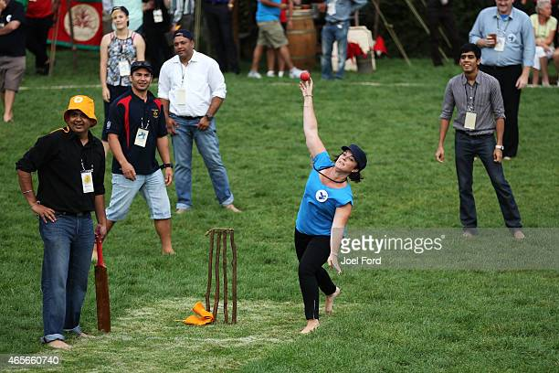 Guests play backyard cricket captained by Kiwi cricket greats Sir Richard Hadlee and Stephen Fleming under the famed 'party tree' at Hobbiton Movie...