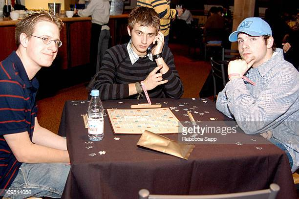 Guests playing scrabble during 2004 Sundance Film Festival Project Motion at Sundance Digital Center in Park City Utah United States