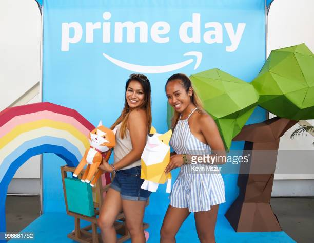 Guests pose during the Amazon Music Unboxing Prime Day event on July 11 2018 in Brooklyn New York