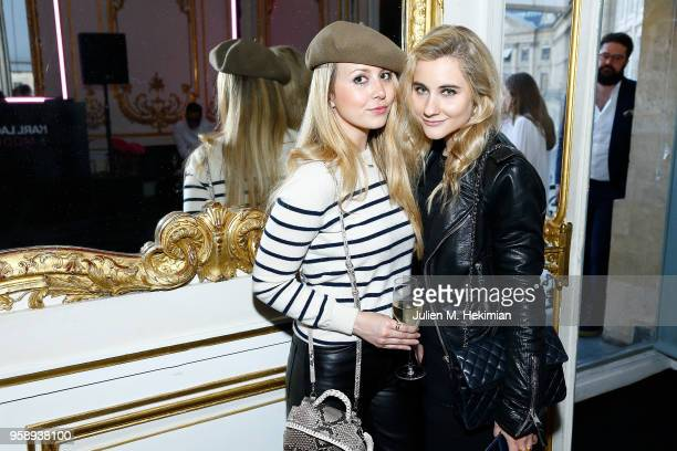 Guests pose during the Karl Lagerfeld ModelCo makeup line launch event at Hotel D'Evreux on May 15 2018 in Paris France