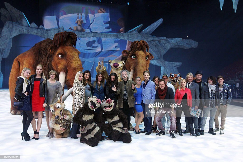 Guests pose for a group photo at the Ice Age Live! - Gala Premiere on November 12, 2012 in Duesseldorf, Germany.