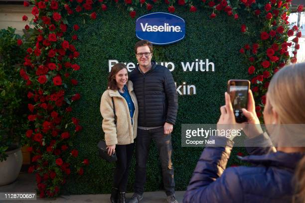 Guests pose for a photo during the Breaking up with Dry Skin event presented by Vaseline with Rachel Lindsay at Sundown At Granada on March 4 2019 in...