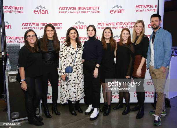 Guests pose for a picture at the Evian Virgil Abloh Collaboration party at Milk Studios on February 10 2020 in New York City