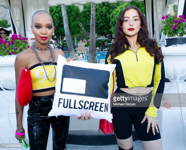 Guests pose for portrait at beGlammed Sunset Soiree Presented by Fullscreen on April 12 2019 in Palm Springs California